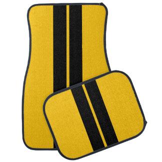 Black Race Stripes | DIY Background Color Car Floor Mat
