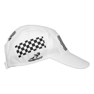 Black Racing Checkered Flag Display Customizable Headsweats Hat