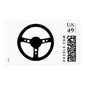 black racing steering wheel icon stamp