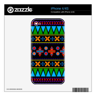 Black rainbow aztec tribal pattern skins for the iPhone 4