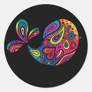 Black Rainbow Bird Sticker