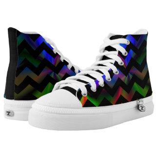 Black Rainbow Chevron High-Top Sneakers