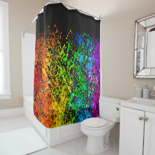 Black Rainbow Color Paint Splatter Colorful Shower Curtain on