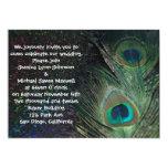 Black Rainbow Peacock Wedding 5x7 Paper Invitation Card