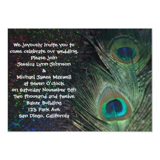 "Black Rainbow Peacock Wedding 5"" X 7"" Invitation Card"