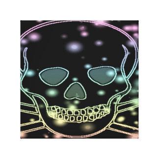 black rainbow skull canvas print