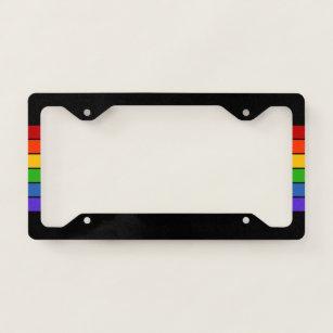 Black Rainbow Stripe License Plate Frame
