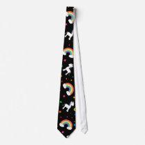 Black rainbow unicorn hearts stars pattern neck tie