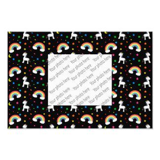 Black rainbow unicorn hearts stars pattern art photo
