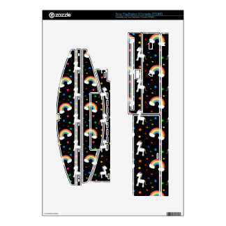 Black rainbow unicorn hearts stars pattern decals for the PS3