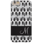 Black Raindrops Geometric Pattern Monogram Barely There iPhone 6 Plus Case