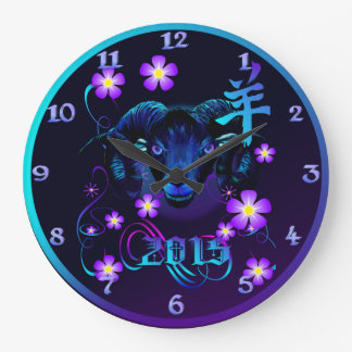 Black Ram-Flowers Large Clock