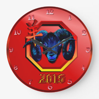 Black Ram-red hex-2015 Large Clock