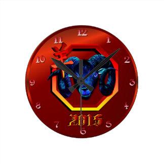 Black Ram-red hex-2015 Round Clock