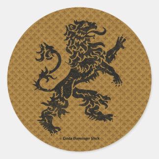 Black Rampant Lion and Fleur de Lis Classic Round Sticker