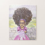 "Black Rapunzel Princess Afro puzzle<br><div class=""desc"">When this Rapunzel lets down her hair it makes a statement! Beautifully curly and natural it goes everywhere but down. The witches and princes of the world are out of luck,  as this little Princess can take care of herself.</div>"