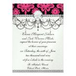 black raspberry red pink mod damask custom invitation