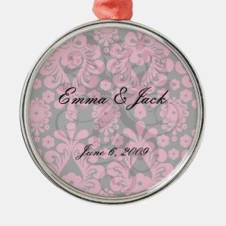black raspberry red pink mod damask metal ornament