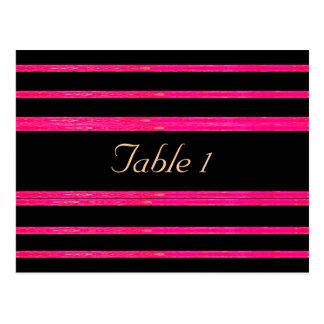 Black & Raspberry Striped Table # Card
