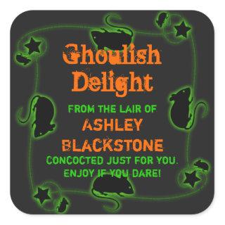 Black Rats Halloween Baking Labels Stickers