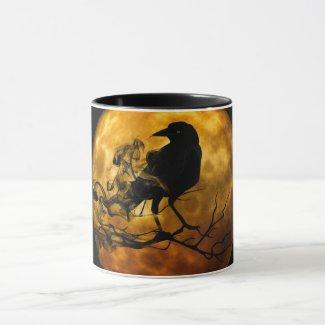 Black Raven Against Gold Full Moon Mug