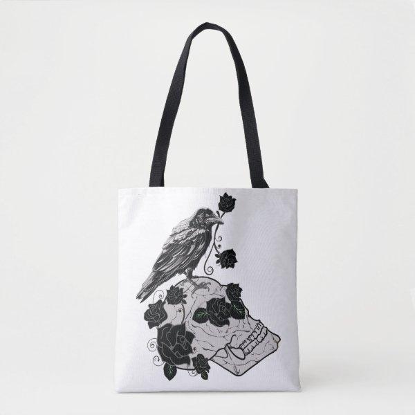 Black Raven and Skull Bag - Roses