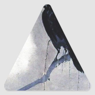 Black Raven Bird Antique Triangle Sticker