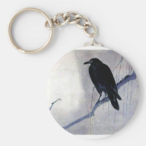 Black Raven Bird Basic Round Button Keychain