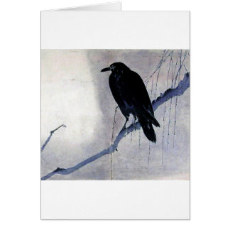 Black Raven Bird Card