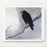 Black Raven Bird Mouse Pad