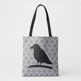 Black Raven Bird Shape With Damask Background Tote Bag