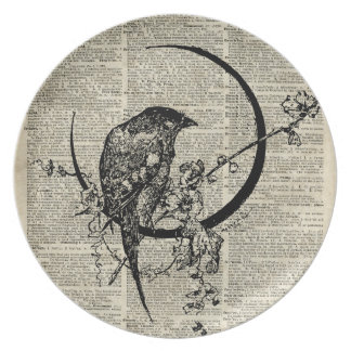 Black Raven Bird stencil over old dictionary page Dinner Plate