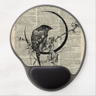 Black Raven Bird stencil over old dictionary page Gel Mouse Pad