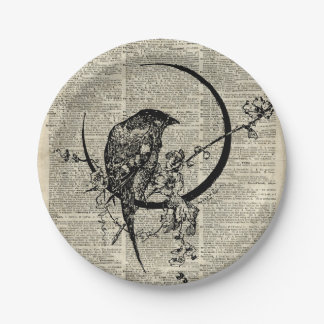 Black Raven Bird stencil over old dictionary page Paper Plate