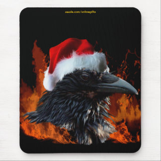 Black Raven & Burning Flames Christmas Mousepad