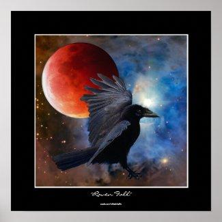 BLACK RAVEN & ECLIPSING MOON Fantasy Art Poster zazzle_print