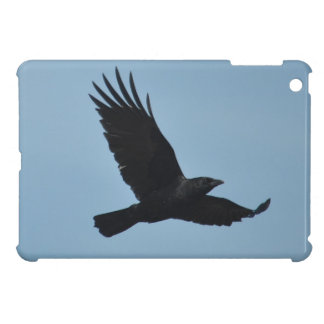 Black Raven Flying in Blue Sky Photo iPad Mini Cover