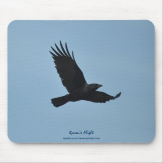 Black Raven Flying in Blue Sky Photo Mousepad