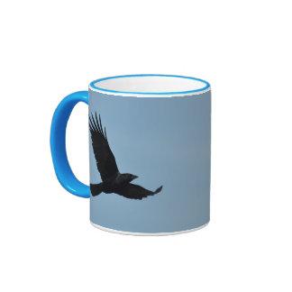 Black Raven Flying in Blue Sky Photo Ringer Mug
