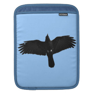 Black Raven Flying in Blue Sky Photo Sleeve For iPads