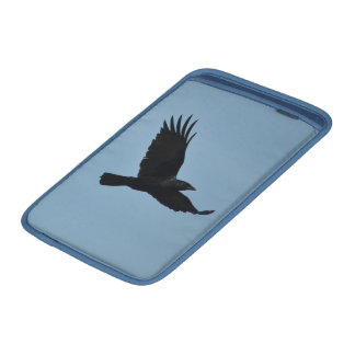 Black Raven Flying in Blue Sky Photo Sleeve For MacBook Air