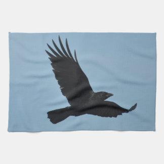 Black Raven Flying in Blue Sky Photo Towel