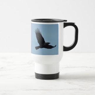 Black Raven Flying in Blue Sky Photo Travel Mug