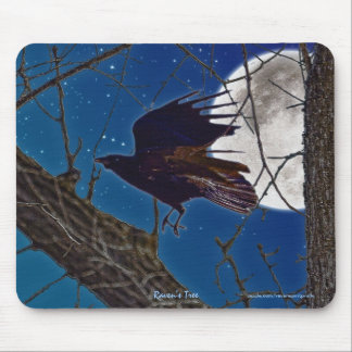 Black Raven Flying in Tree with Moon & Stars Mouse Pad