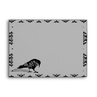 Black Raven Gothic Frame Wedding Envelope
