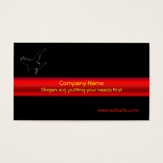 Black Raven Logo with red metallic-effect stripe Business Card