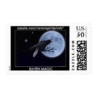 BLACK RAVEN & MOON Postage Stamp
