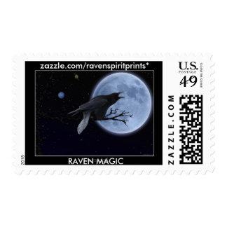BLACK RAVEN & MOON Postage Stamp