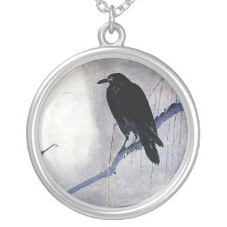 black raven wild bird nature sunrise silver plated necklace