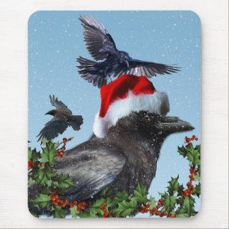 Black Ravens & Winter Snow-fall Christmas Mousepad